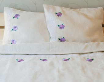 100% Linen Bedding FULL Set 4 pcs, Single/Twin/Junior Bed Linen Set, White - Sheet, Duvet Cover, 2 Pillowcases - Embroidered with Lace