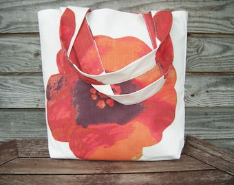 Linen Red Flower Tote Bag, Grocery Reusable Bag, Eco-friendly Natural Beach Tote Bag