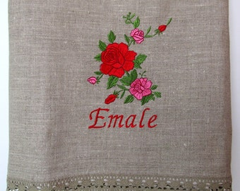 Natural Linen Sauna Bath Towel with Lace, Large size, Personalized, Gray, Handmade, 100% Pure Linen, Guest Towel, Eco-friendly Gift