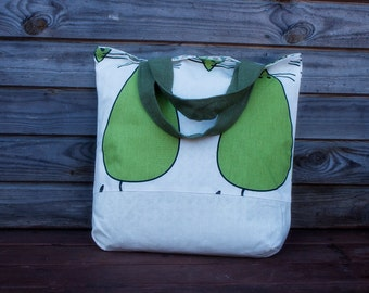 Linen Green Mouses Tote Bag, Grocery Reusable Bag, Eco-friendly Natural Beach Tote Bag Boho chic, Shopping bag, Tote bags, Chic bag, Bags