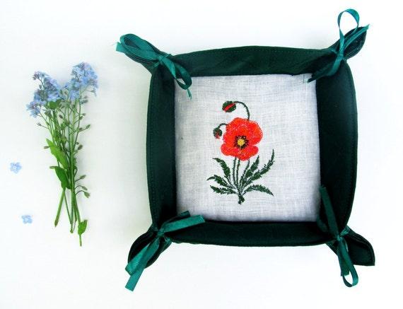 Corbeille à pain en lin naturel, décoration, rangement, panier tissu-idée cadeau, panier de décoration, fait main, brodé avec des bandes