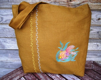 Embroidered Tote Bag, Natural linen, Large size, Grocery Reusable Bag, Eco-friendly Shopping Bag, Natural Beach Tote Bag
