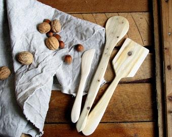 Juniper Wood Spatula Set of 3, Natural Handmade Home Decor, Wooden Spade, Kitchen Utensil, Rustic Kichen, Untreated Wood