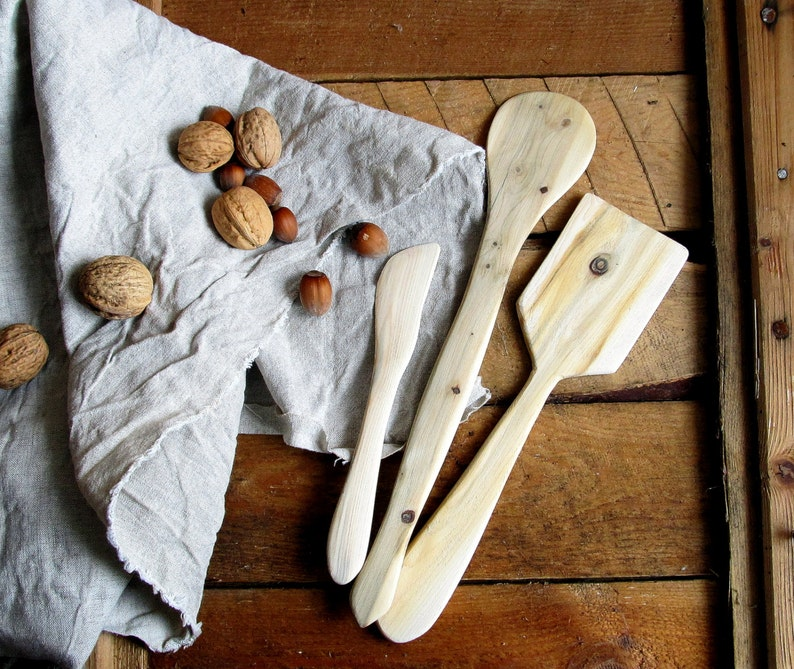Kitchen Utensil Untreated Wood Natural Handmade Home Decor Wooden Spade Juniper Wood Spatula Set of 3 Rustic Kichen
