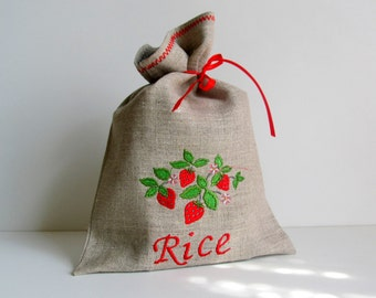 Natural Linen Rice Bag, Embroidered, Burlap Condiment Holder, Handmade Strawberry Sachet, Grey, 100% Pure Linen, Eco-friendly Gift