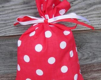 Polka Dot  Red Cotton Favor Bag Set of 5, Wedding Sachet, Small Gift Bag, Handmade , Cotton Bag, Rustic Decor