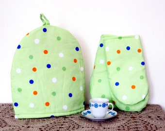 Coffee Pot Cozy and Oven Mitt Set, Oven Gloves, Polka Dot Tea Cozy, Handmade, Polka Dot Oven Gloves, Cotton Kitchen Decor, Hot Pads