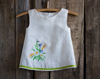 Linen Embroidered Dress, Flower Girl, Rustic Wedding, White Linen, Round Neck, Country Dress, Handmade, Flower Embroidery