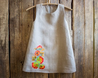 Linen Embroidered Dress, Flower Girl, Rustic Wedding, Grey Linen, Round Neck, Country Dress, Handmade, Flower Embroidery