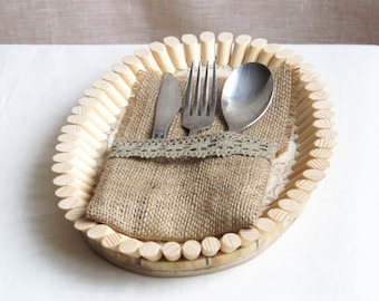 Burlap Linen Flatware Holder, Burlap Cutlery Pocket, Tableware Holder, Handmade with Beige Lace, Jute Pocket, Rustic Decor