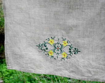Natural Linen Hand Towel Embroidered with Lace Handmade Tea Towel Grey Pure Linen Guest Towel Eco-friendly Gift Home Decor