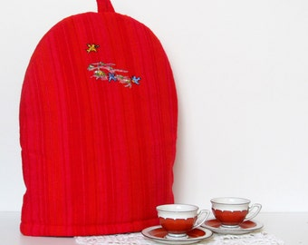 Embroidered Coffee Pot Cozy, Red Coffee Pot Warmer, Handmade, Large Size Coffee Warmer