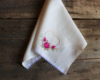 Natural Linen Tea Towel, Embroidered Floral Hand Towel, Handmade, Heart Pattern, White, 100% Pure Linen Guest Towel, Eco-friendly Gift