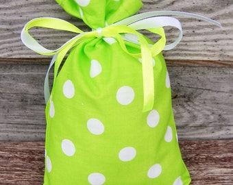 Rustic wedding Polka Dot  Green Cotton Favor Bag Set of 5, Wedding Sachet, Small Gift Bag, Handmade , Cotton Bag, Rustic Decor