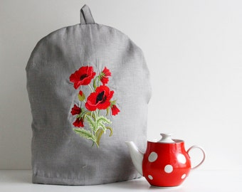 Linen Coffee Pot Cozy with Poppies, Embroidered, Pure Linen Teapot Warmer, Handmade, Large Size, Gray Linen, Eco Friendly Gift