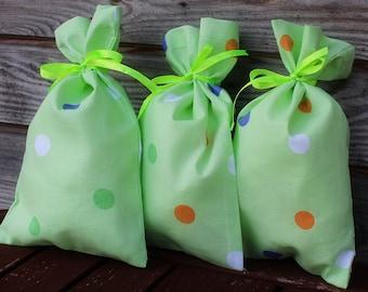 Polka Dot  Green Cotton Favor Bag Set of 10, Wedding Sachet, Small Gift Bag, Handmade , Cotton Bag, Rustic Decor