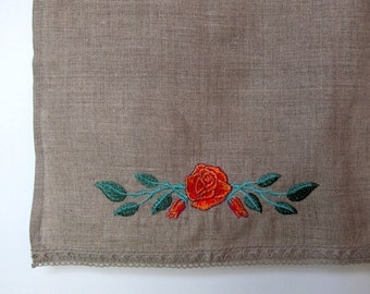 Natural Linen Hand Towel, Embroidered with Lace, Handmade, Tea Towel, Grey, 100% Pure Linen Guest Towel, Eco-friendly Gift