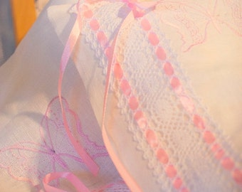 100% Linen Bedding Set 3pcs, Baby Bed Linen Set, Nursery Bedding, HANDMADE, White, Embroidered with Laces and Bands