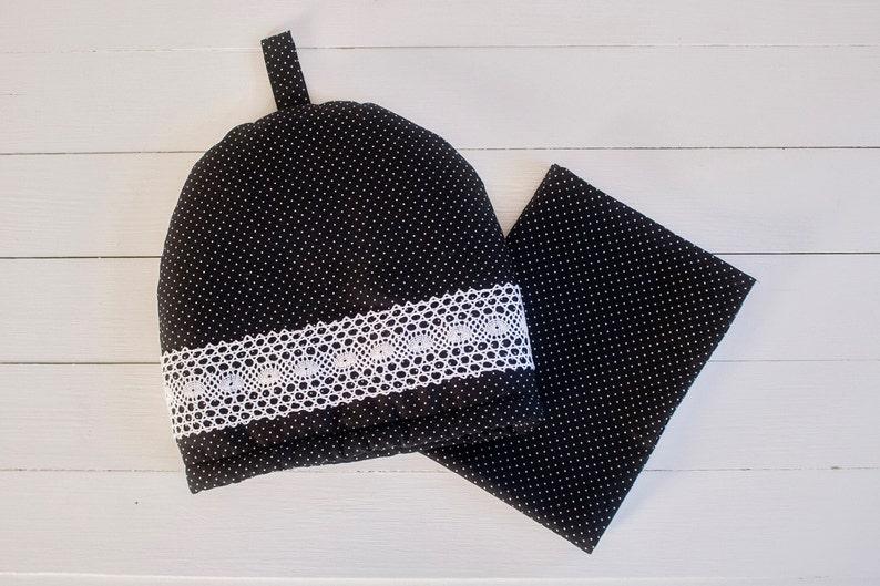 fd490a1d98b8 Polka Dot Teapot Cozy with Lace Black White Cotton Handmade   Etsy