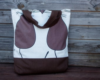 Linen Brown Mouses Tote Bag, Grocery Reusable Bag, Eco-friendly Natural Beach Tote Bag, Large Shopping Bag
