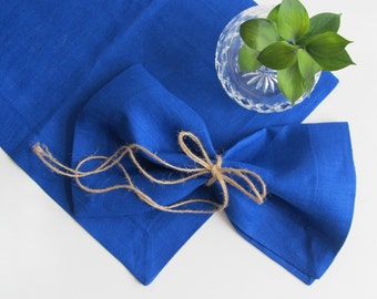 Blue Linen placemat, Handmade Table Linen, Linen Wedding Decor, Dining Supply, Home Textiles, Mitered Corners