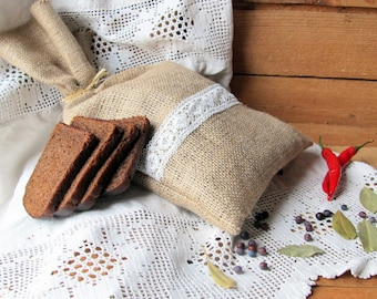 Burlap Linen Bread Bag with Lace, Bread Sachet, Handmade, Rustic Decor,  Bread Holder, Grey, 100% Pure Linen, Eco-friendly Gift