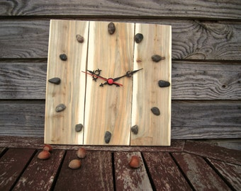 Juniper Wood Clock, Natural Handmade Wall Clock, Large Wooden Clock, Unique Gift, Untreated Wood