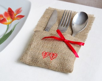 Burlap Linen Flatware Holder, Burlap Cutlery Pocket, Tableware Holder, Handmade with Embroidery and Band, Jute Pocket, Rustic Decor