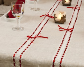 Linen Tablecloth, White with Lace and Bands, Large size, 100% Pure linen, Table runner, Unique gift