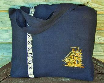 Dark blue  linen Shopping Bag, Medium size, Grocery Reusable Bag, Eco-friendly, Natural Beach Tote g