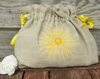 Linen Girl Handbag, Embroidered Wedding Sachet, Bags, Small Handmade Floral Bag, Grey, Rustic Party Bag