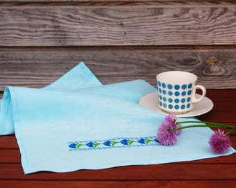 Natural Linen Tea Towel, Embroidered Floral Hand Towel, Handmade, Ethnic Pattern, Blue, 100% Pure Linen Guest Towel, Eco-friendly Gift