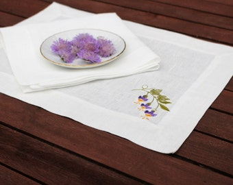 White Linen Embroidered Placemat, Handmade Floral Linen Table Decor, Wedding Decor, 100% Pure Linen, Mitered Corners