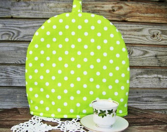 Cotton bright green and White Polka Dots Coffee Pot Cozy, Linen Home decor Coffee lover, Pure Cotton Coffee Pot Warmer, Handmade, Large Size
