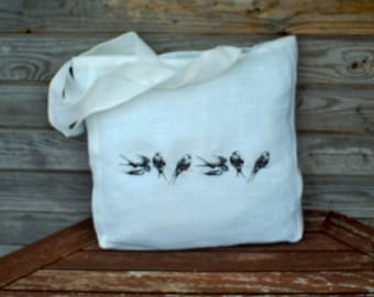 White  Linen Tote Bag with Birds embroidery , Grocery Reusable Bag, Eco-friendly Natural Beach Tote Bag, Shopping Bag