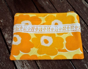 Yellow flowers Cotton  Make Up Bag, Zipper Pouch, Cosmetic Bag, Handmade, Cotton, Women, Organize