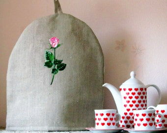 Linen Coffee Pot Cozy, Embroidered, Pure Linen Coffee Pot Warmer, Handmade, Large Size Coffee warmer