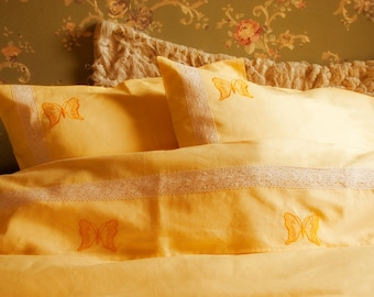 Linen Bedding FULL Set 4 pcs, QUEEN SIZE Bed Linen Set, Yellow, Sheet, Duvet Cover, 2 Pillowcases, Embroidered with Lace, Wedding Gift