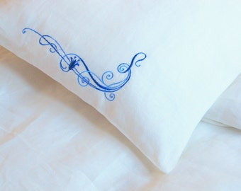 White Natural Linen Pillowcase in Different Sizes, 100% Linen Pillow cover, White with Blue Embroidery