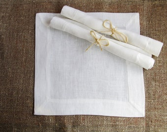 White Linen Napkin, Handmade Linen Table Decor, Wedding Decor, 100% Pure linen, Mitered Corners