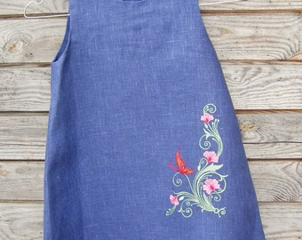 Linen Embroidered Dress, Flower Girl, Rustic Wedding, Dark Blue Linen, Round Neck, Country Dress, Handmade, Flower Embroidery