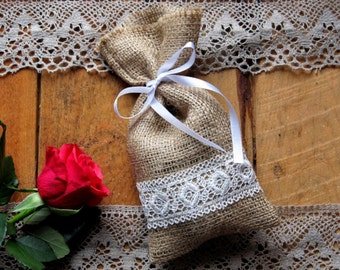 Burlap Linen Favor Bag, Burlap Wedding Sachet, Small Gift Bag, Condiment Holder, Handmade with White Lace and Band, Jute Bag, Rustic Decor