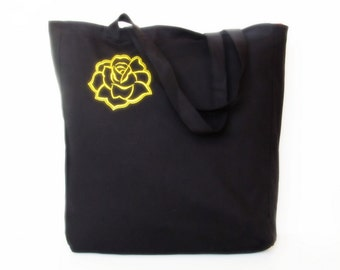 A cotton bag, Embroidered tote bag, Black cotton tote bag Grocery Reausable Bag Eco-friendly Natural Beach tote bag FREE SHIPPING