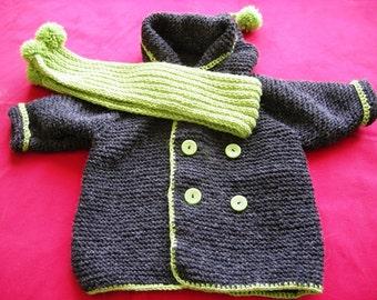 Handknitted hooded baby coat - dark grey-green-pure wool yarn