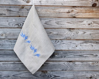 Natural Linen Tea Towel, Embroidered Birds Hand Towel, Handmade, Ethnic Pattern, Grey, 100% Pure Linen Guest Towel, Eco-friendly Gift