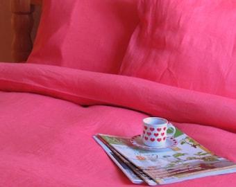 Natural Linen Cotton Bedding FULL Set 4 pcs, QUEEN SIZE Bed Linen, Double Bedding, Duvet Cover, Sheet, 2 Pillowcases, Pink Bed Set