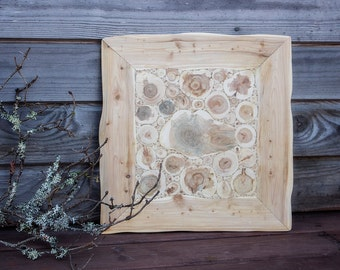 Juniper Wood Wall Hanging, Natural Wooden Wall Art, Handmade Wall Decor, Juniper in a Frame, Rustic Wall Art, Untreated Wood
