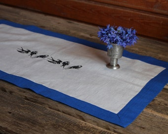 Blue and White Linen Table Runner with Birds Embroidery, Handmade Linen Table Cloth, Wedding Decor, 100% Pure Flax Linen, Mitered Corners