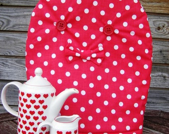 Cotton red and White Polka Dot Coffee Pot Cozy, Linen Home Decor Eco-friendly Drinkware, Coffee gift Coffee Pot Warmer, Handmade, Large Size