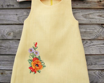 Linen Embroidered Dress, Flower Girl, Rustic Wedding, Yellow Linen, Round Neck, Country Dress, Handmade, Flower Embroidery